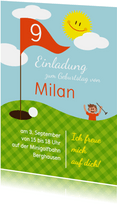 Einladung zum Golf-Kindergeburtstag orange