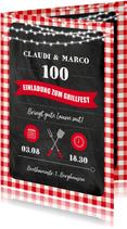 Einladung zum Grillfest für zwei mit roten Karos