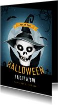 Einladung zum Halloween-Fest Totenkopf mit Hut