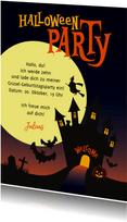 Einladung zum Halloween-Kindergeburtstag Geisterhaus