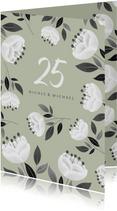 Einladung zum Hochzeitsjubiläum grün mit weißen Blumen