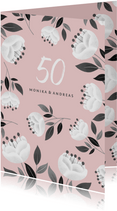 Einladung zum Hochzeitsjubiläum rosa mit weißen Blumen