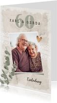 Einladung zum Hochzeitstag Foto, Eukalyptus und Spitze
