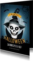 Einladung zum Kinder-Halloween-Fest Totenkopf mit Hut