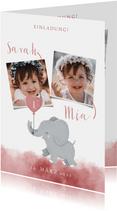 Einladung zum Kindergeburtstag Aquarellrosa für Zwillinge