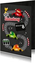 Einladung zum Kindergeburtstag Autorennen