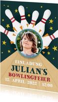 Einladung zum Kindergeburtstag Bowlingbahn mit Foto