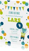 Einladung zum Kindergeburtstag Bunte Konfetti grün