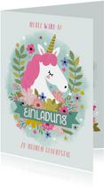 Einladung zum Kindergeburtstag Einhorn und Blumen