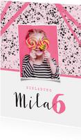 Einladung zum Kindergeburtstag Foto und Tupfen rosa