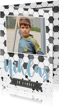 Einladung zum Kindergeburtstag Fußball mit Foto blau