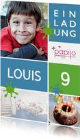 Einladung zum Kindergeburtstag im Papijo blau
