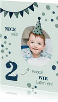 Einladung zum Kindergeburtstag Konfetti grün mit Foto