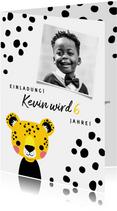 Einladung zum Kindergeburtstag mit Foto und Leopard