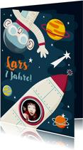 Einladung zum Kindergeburtstag mit Foto und Rakete