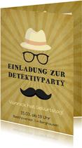 Einladung zum Kindergeburtstag Moustache beige