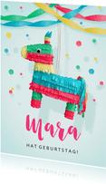 Einladung zum Kindergeburtstag Pferde-Piñata rosa