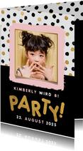 Einladung zum Kindergeburtstag Punkte und Foto
