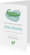 Einladung zum Kindergeburtstag Schwimmen Krokodil