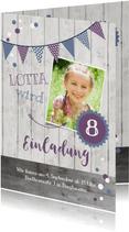 Einladung zum Kindergeburtstag Violet & Blue