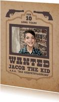 """Einladung zum Kindergeburtstag """"Wanted"""""""