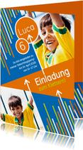 Einladung zum Klettern blau-orange mit Fotos
