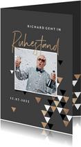 Einladung zum Ruhestand braun mit Foto