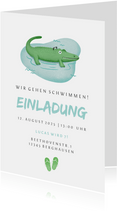 Einladung zum Schwimm-Kindergeburtstag Krokodil