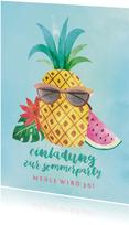 Einladung zum Sommergeburtstag Coole Ananas