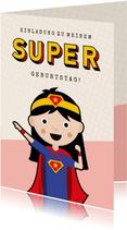 Einladung zum Superhelden-Geburtstag Mädchen