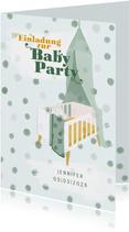 Einladung zur Babyparty Bettchen Junge