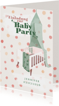 Einladung zur Babyparty Bettchen Mädchen