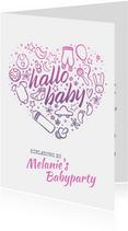 """Einladung zur Babyparty """"Hallo Baby"""" - Mädchen"""