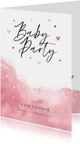 Einladung zur Babyparty rosa Wasserfarbe
