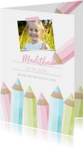 Einladung zur Einschulung Buntstifte rosa und eigenes Foto