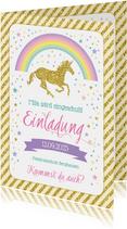 Einladung zur Einschulung Einhorn & Regenbogen