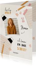 Einladung zur Einschulung Foto, rosa Spitzer & Bleistift