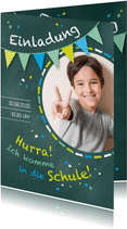 Einladung zur Einschulung Fotos Schultafel grünblau