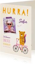 Einladung zur Einschulung rosa Rad mit Leopard