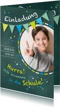 Einladung zur Einschulung Schultafel grünblau und Foto