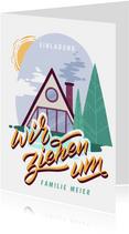 Einladung zur Einweihungsfeier mit Hütte im Wald