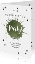 Einladung zur Geburtstagsparty Party Stars grün