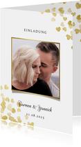 Einladung zur Hochzeit Goldene Herzen