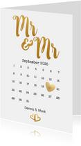 Einladung zur Hochzeit Mr. & Mr. Buchstaben in Goldlook