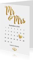 Einladung zur Hochzeit Mr. & Mrs. Buchstaben in Goldlook