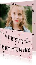 Einladung zur Kommunion Foto & Girlande rosa