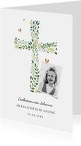 Einladung zur Kommunion Foto und Kreuz botanisch