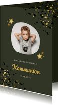 Einladung zur Kommunion olivgrün mit Foto und Sternen