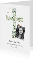 Einladung zur Konfirmation Foto und botanisches Kreuz