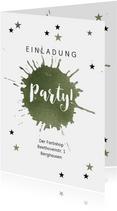 Einladung zur Party mit olivgrünem Farbklecks